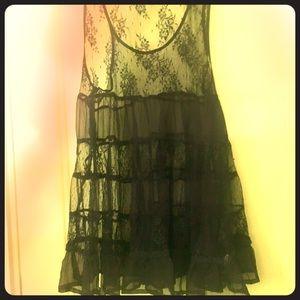 See you Monday boho lace sheer babydoll dress top
